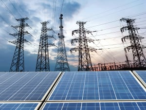 photovoltaic cells and high voltage post.